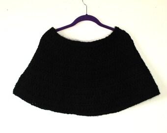Handmade Dreamlyn Set in Black Crochet Shawl w/ Gloves, Poncho, Shrug, Sweater,  Womens Small/Medium