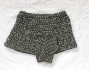 Handmade Dreamlyn Set in Grey Heather Crochet Shawl w/ Gloves, Poncho, Shrug, Sweater,  Girls 5/7