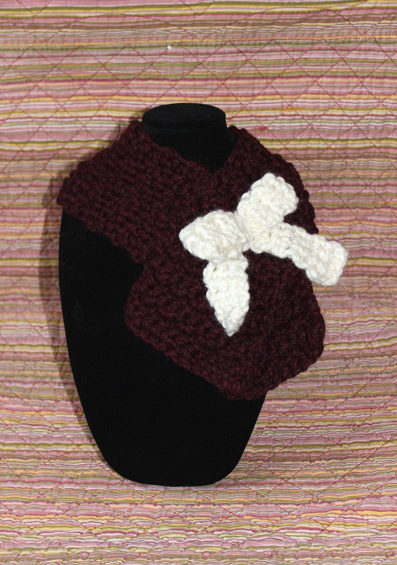 da1e76b43 Handmade Crochet Tyeleigh Scarf, Wool Ease Thick and Quick Yarn in Claret &  Fisherman, Size Small / Child