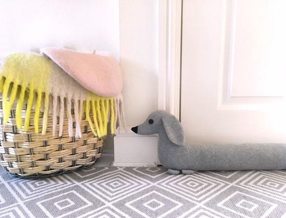 Handmade fabric storage basket tub Beige Black Dachshunds Dogs /& Stripes
