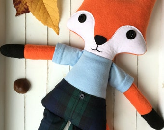 Mr Fox rag doll, cloth doll - Free shipping within the UK
