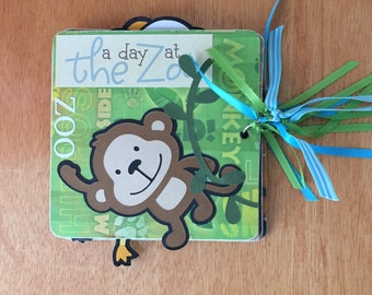 Zoo pre made mini  chipboard scrapbook album sample sale