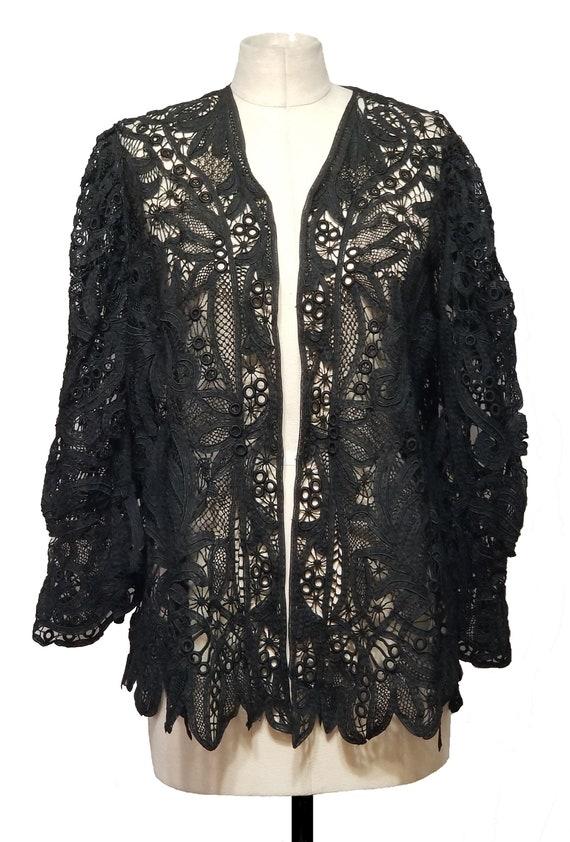 Black Edwardian Battenburg Lace Jacket