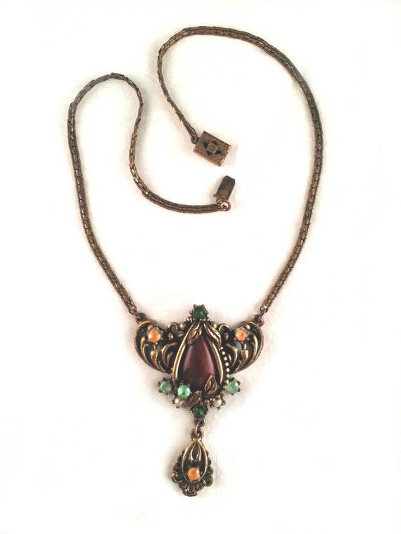 Unsigned Art Nouveau Lavalier Necklace