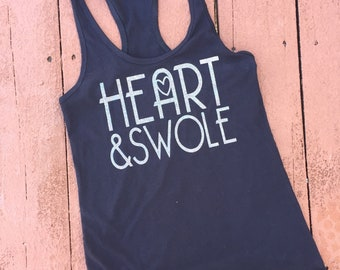 HEART & Swole | Workout Tank Top Shirt | CrossFit Tank | Funny Gym Tank | Fitness Shirt | Crossfit Weightlifting Tank