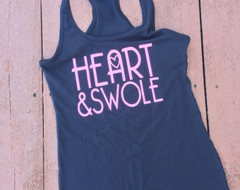 Heart and Swole | Women's Racerback Tank | Workout Shirt | CrossFit Tank | Funny Gym Tank | Fitness Shirt | Crossfit Racerback Tank