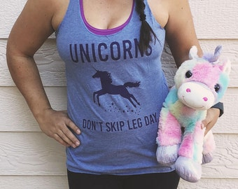 Unicorns Don't Skip Leg Day | Leg Day Workout Funny Unicorn Women's Racerback Tank | Majestic Inspired CrossFit shirt | Unicorn tshirt