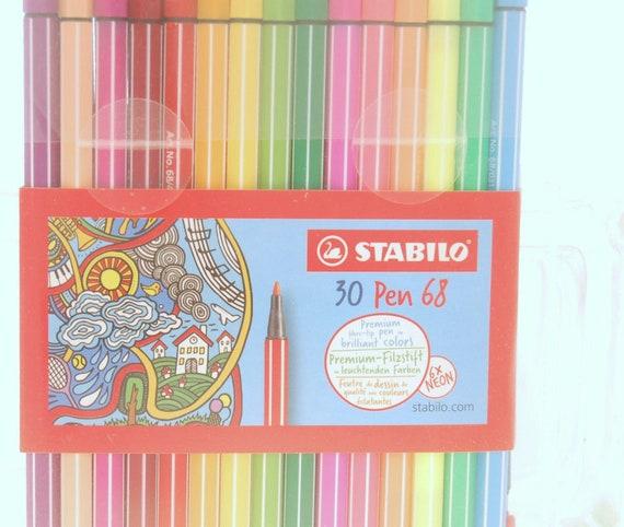 Pluma de Punta de Fieltro Premium-STABILO Pen 68 Cartera de 30 Colores Surtidos incluso 6
