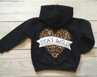 b2271d7f797f Black/leopard print stay wild tattoo heart baby kids hoodie goth metal  alternative