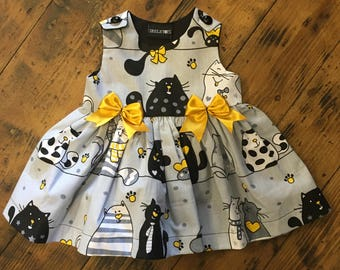 Skeletots gray/mustard cats  dress goth rock baby girl ages 2-6 years