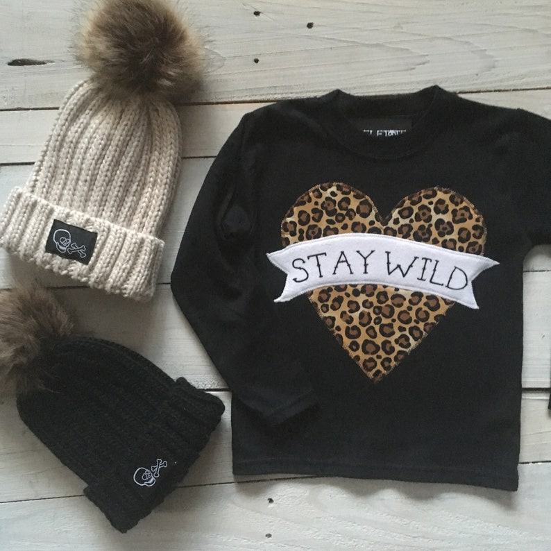 ec86db7f990 Skeletots stay wild tattoo Heart black leopard print long
