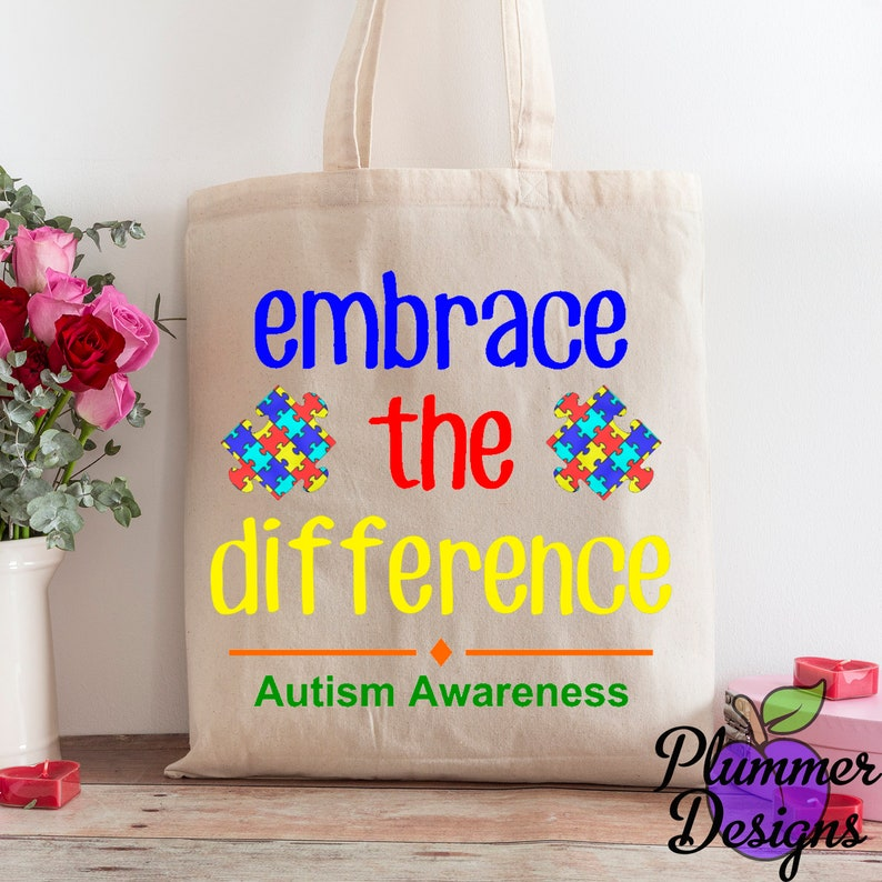 Embrace the Difference Tote bag Autism Awareness Tote Bag image 0