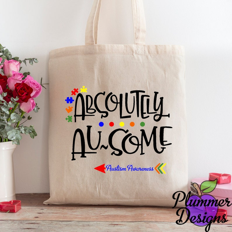 Absolutely Awesome Tote bag  Autism Awareness Tote Bag image 0