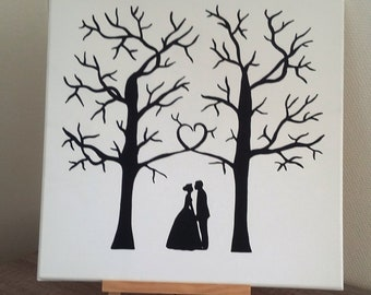 "wedding guestbook tree prints wedding ""gone with the love"""