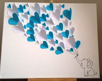 """guest book - signatures-3d tree fingerprint tree """"white elephant"""" for 50-60 people"""