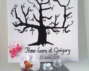 """arbre à empreintes 40x40 """"l'arbre de notre amour"""""""