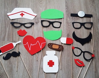 Accessories photobooth x 17 doctor, nurse, doctor, anesthesiologist.