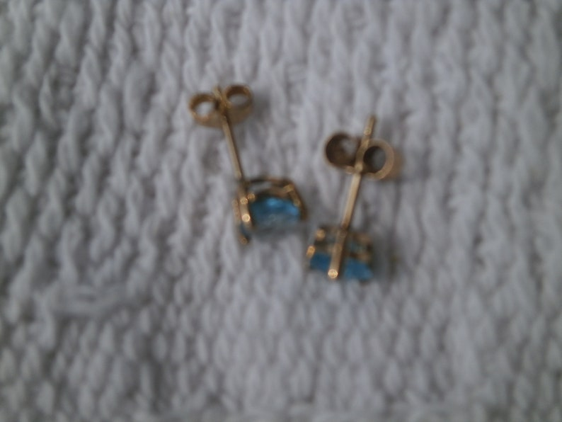 FREEPOST PAIR HEART rare sky blue apatite 9ct gold earrings