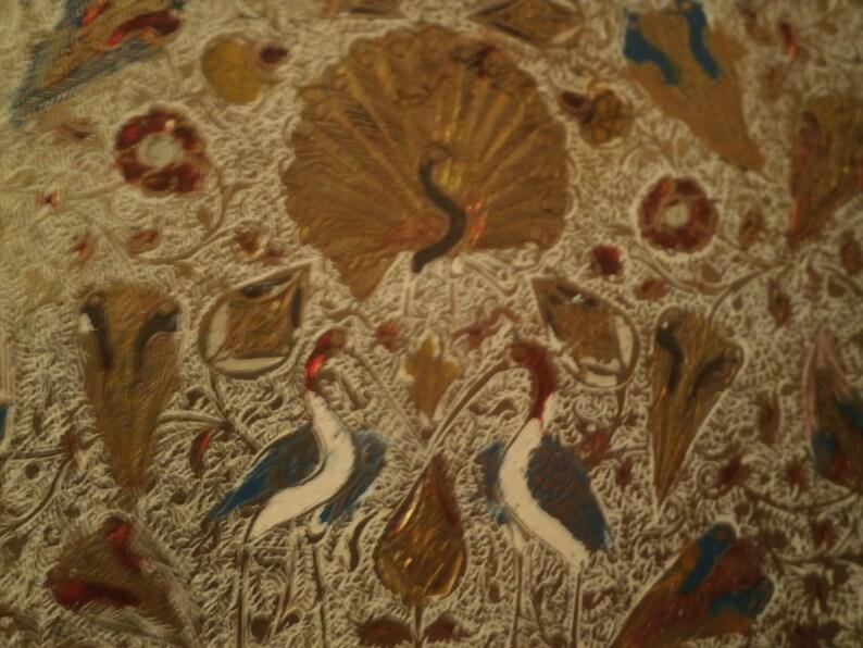 World FREEPOST Asian brass and enamel box Peacock birds and flora BEAUTIFUL!