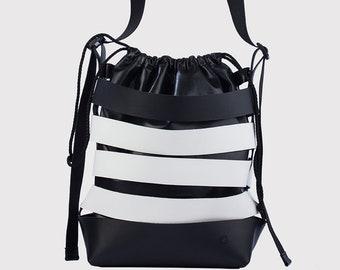 Black and white bucket bag
