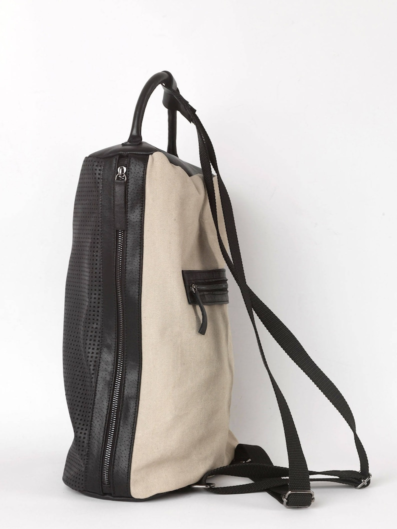 Leather-fabric backpack