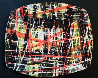 Abstract painted ceramic plate