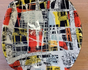 Abstract painted square ceramic plate