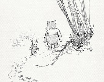 Pooh and Piglet go hunting - classic style poster print copy of illustration for the Winnie the Pooh #32