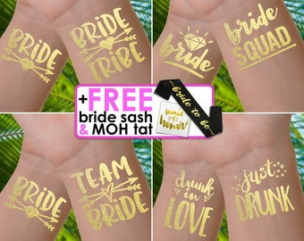 Hen party tattoos | hen night, hen do, bachelorette tattoos, bride tribe tattoos, bachelorette tattoo, bridesmaid gifts, gold foil tattoos