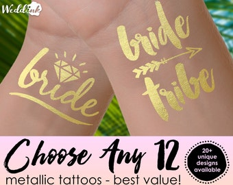 Choose Any 12 Tattoos | bachelorette party tattoos, metallic temporary tattoos, gold foil tattoos, bridesmaid gifts, gold tattoos