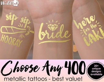 Choose Any 400 Tattoos | wedding tattoos, bachelorette party tattoos, metallic temporary tattoos, gold foil tattoos, wedding favors