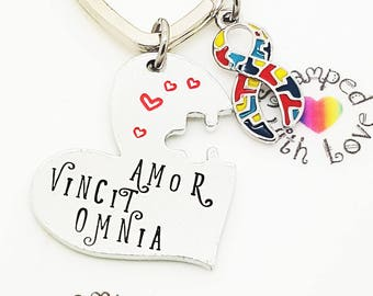 Love Conquers All Keyring, Autism Awareness, Amor Vincit Omnia, latin phrase, mothers day, understanding, acceptance, respect, birthday