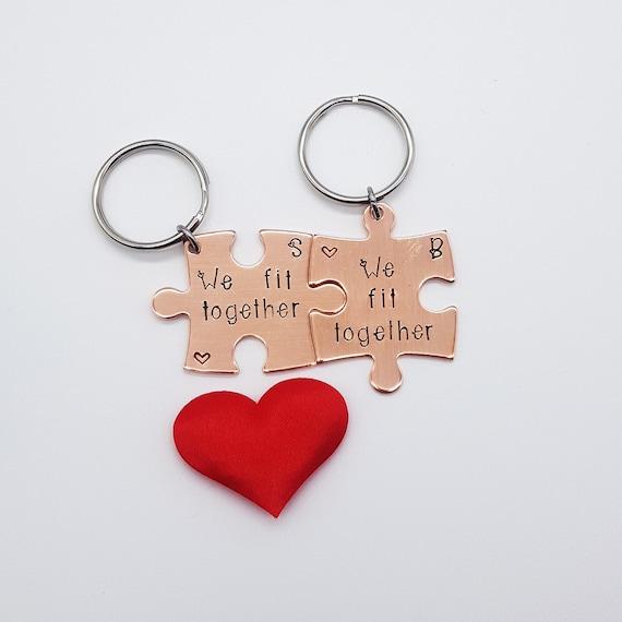 Schlüsselanhänger Herz Puzzleteil Valentinstag Love Wunschnamen