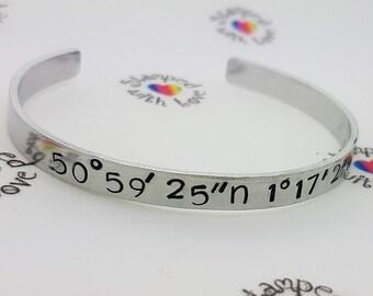 Co Ordinates Bracelet, Special Place, gift for best mate, best friend, skinny bracelet, cuff, stacker bracelet, travel gift, gap year, uni