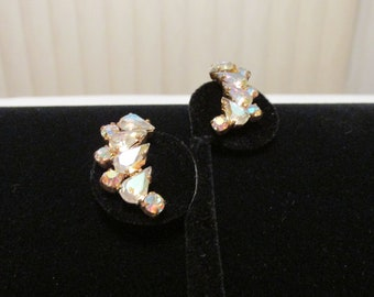 Vintage Half moon Rhinestone Earrings Silver Clip On