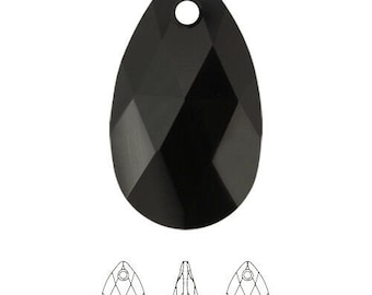 70b01f07f Swarovski® crystals 6106 28mm Jet faceted pear pendant, 6106 28mm Jet, Genuine  Swarovski ELEMENTS, Sold Individually