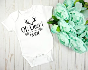 0bbab7784 Oh Deer! I'm Here Onesie, Coming Home Outfit, Baby Girl Clothing, Baby Boy  Clothing, New Baby Onesie