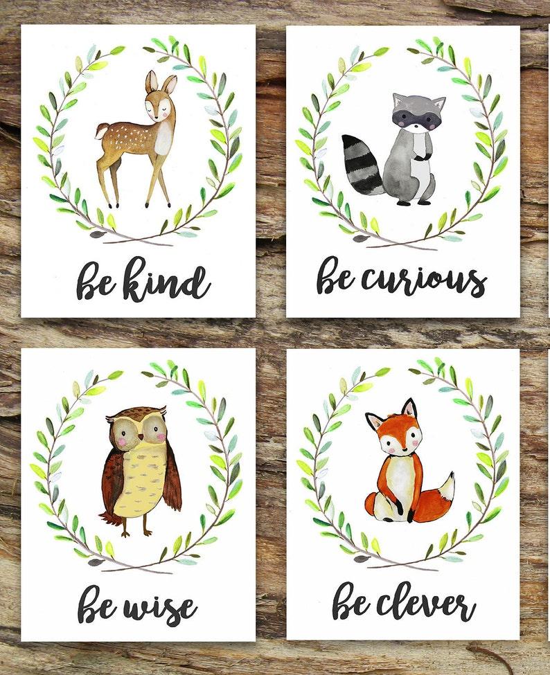 Charming Woodland Animal Art Prints / Baby Shower Gift / image 0
