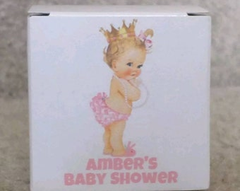 """12 PERSONALIZED Pink Blonde Princess with Pearls Baby Shower Gift boxes- Boxes are 2""""x2""""x2"""""""