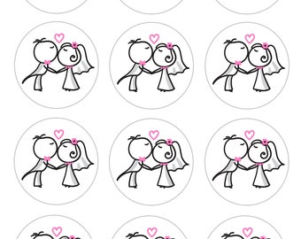 Kissing Couple Bridal Shower Stickers-choose your size
