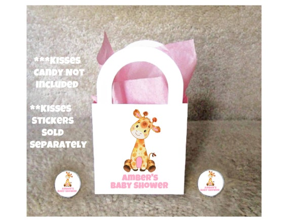 Giraffe Girl Baby Shower PERSONALIZED SET of 12 Goody Favor Treat Boxes Fully Assembled 2x2x2 Small and Adorable