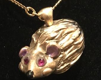 CF097 Hedgehog, little bronze hedgehog, cute, handmade, cubic zirconia eyes, rare handmade bronze link chain