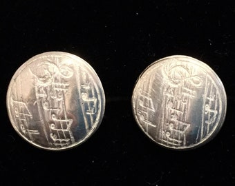 CF055 Music staff or staves in pure silver cuff links, handmade