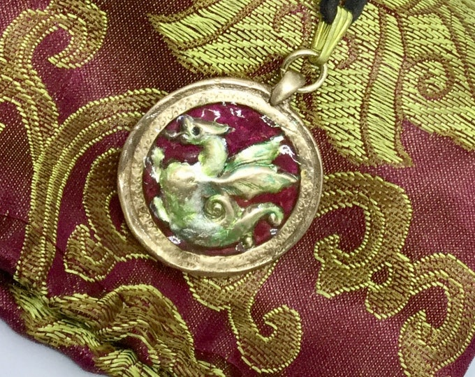 B410 Dragon, pure BRONZE dragon, dragon good luck, charm, Black velvet cord, handmade, red enamel, green irredescent jeweler's dyes