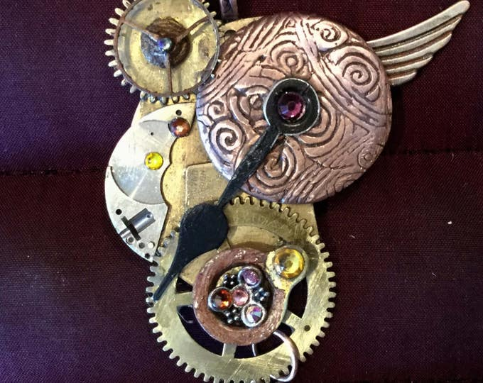C36 Large STEAMPUNK pendant, jewelry, optional FREE brass stand,copper, watch parts, copper snake chain necklace,t