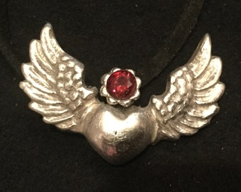 "S217 Pure silver .999 Steampunk heart with wings, 18"" velvet cord, handmade"