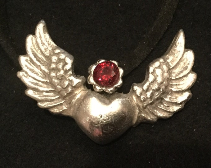 """S217 Pure silver .999 Steampunk heart with wings, 18"""" velvet cord, handmade"""