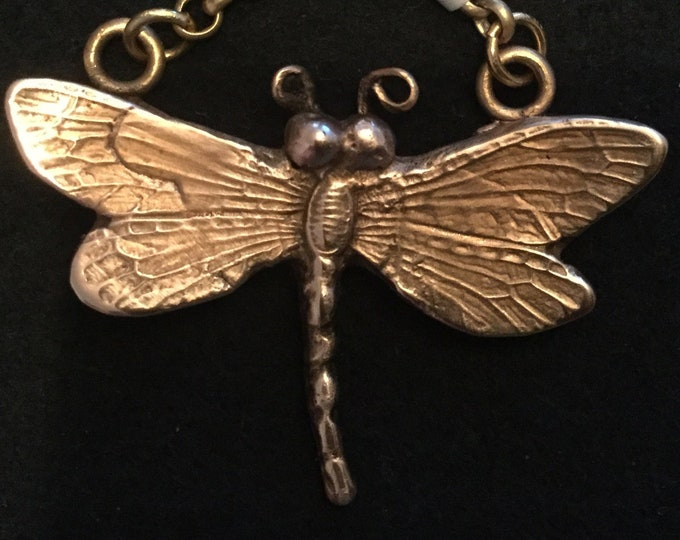 "B300 Bronze dragonfly handmade, black velvet necklace 20"", rose bronze"