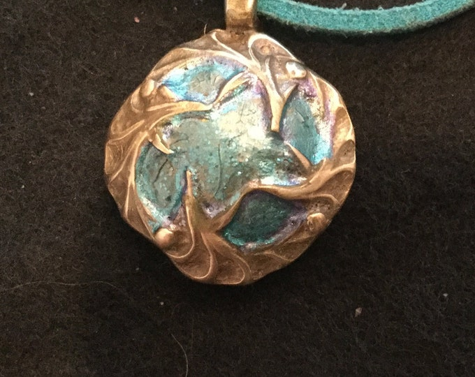 B301  pure bronze, Pendant vines encircling blue enamel, perf gift for teens or mom handmade, Turquoise  suede cord