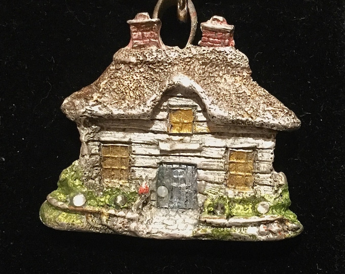 CF091 English Cottage house, garden, 2 chimneys, handmade, pure .999 silver content, Swarovski Crystals, heavy sterling silver chain